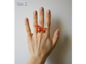 Balloon Horse Ring size 2 in Orange Strong & Flexible Polished