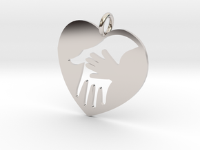 Mother/child holding hand pendant. in Rhodium Plated Brass