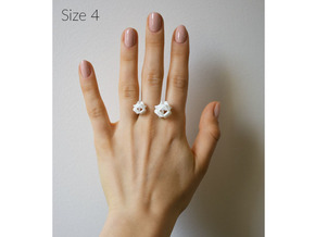 Double Rose Ring size 4 in White Natural Versatile Plastic