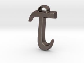 Tau Pendant For Necklace or Bracelet in Polished Bronzed Silver Steel