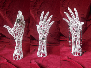 Wireframe hand - Jewelry Display Model in White Strong & Flexible