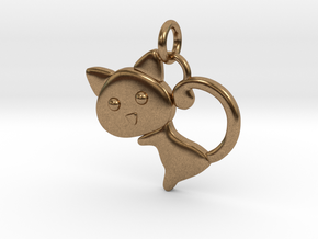 Cat Pendant in Natural Brass