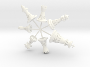 Attached 7 Chess Piece Dice Set (with sprues) in White Strong & Flexible Polished