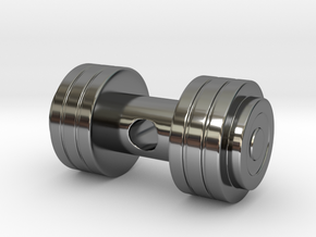 Weights Pendant / Dumbbell in Fine Detail Polished Silver
