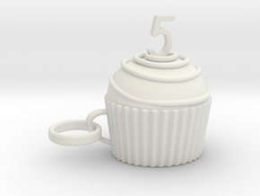 Cupcake 5 in White Natural Versatile Plastic
