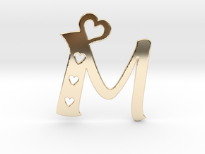 Initial M with heart cut outs pendant in 14K Yellow Gold