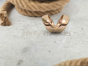 The Infinity V Knuckle Ring in Polished Gold Steel