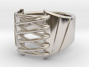 Corset Ring - US 08 in Rhodium Plated Brass