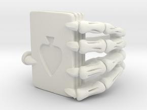 Poker ring in White Natural Versatile Plastic: 10.5 / 62.75