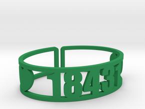 Bryn Mawr Zip Code Cuff in Green Processed Versatile Plastic