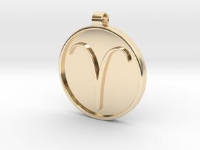 Zodiac KeyChain Medallion-ARIES in 14K Yellow Gold