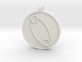 Zodiac KeyChain Medallion-CANCER in White Natural Versatile Plastic