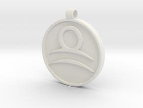 Zodiac KeyChain Medallion-LIBRA in White Natural Versatile Plastic