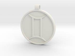 Zodiac KeyChain Medallion-GEMINI in White Natural Versatile Plastic