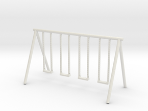 Playground Swing - HO 87:1 Scale in White Natural Versatile Plastic