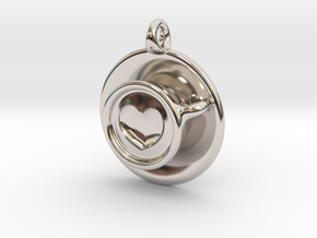 Coffee Love Pendant in Platinum
