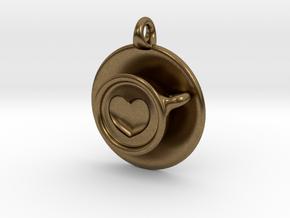 Coffee Love Pendant in Natural Bronze