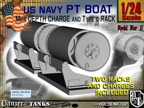 1/24 PT Boat Depth Charge W/ Rack Set 1 in Smooth Fine Detail Plastic