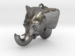 Stylized Elephant Pendant in Polished Nickel Steel