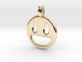 Happy Smile 3D printed jewelry pendant in 14k Gold Plated Brass