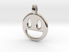 Happy Smile 3D printed jewelry pendant in Rhodium Plated Brass