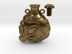 Octopus Vial Pendant in Polished Bronze