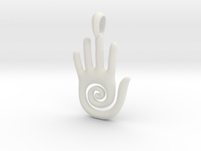Hopi Spiral Hand Creativity Symbol Jewelry Pendant in White Natural Versatile Plastic