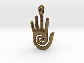 Hopi Spiral Hand Creativity Symbol Jewelry Pendant in Natural Bronze
