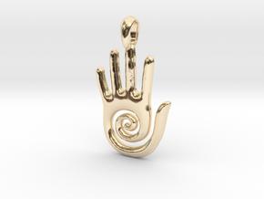 Hopi Spiral Hand Creativity Symbol Jewelry Pendant in 14K Yellow Gold