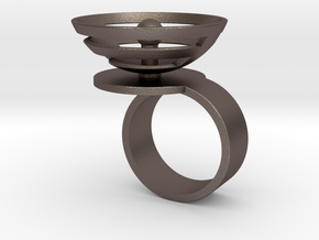 Orbit: US SIZE 8 in Polished Bronzed Silver Steel