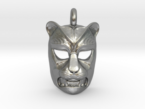 Leopard kabuki-style Pendant in Natural Silver