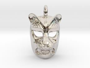 Leopard kabuki-style Pendant in Platinum