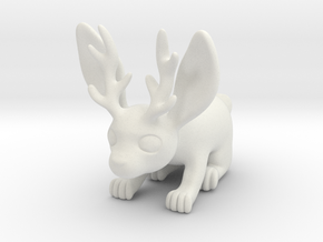 Little Jackalope Figure in White Natural Versatile Plastic