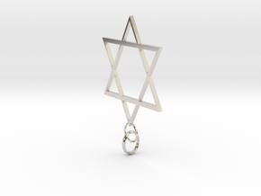 Star Of David in Rhodium Plated Brass