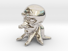 Cute Tako in Rhodium Plated Brass