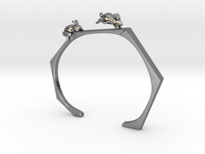 Chasing Rabbits Cuff Bracelet in Polished Silver: Extra Small