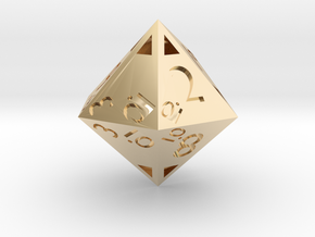 Sphericon-based d12: hollow in 14k Gold Plated Brass