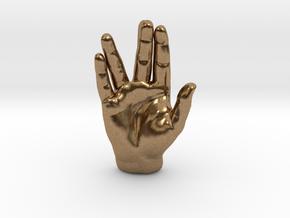 Spock Vulcan Hand Pendant in Natural Brass