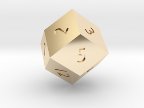 Rhombic 12-sided die in 14K Gold