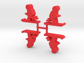 Skier Meeple, 4-set in Red Processed Versatile Plastic
