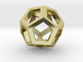 Dodecahedron Pendant in 18k Gold Plated Brass