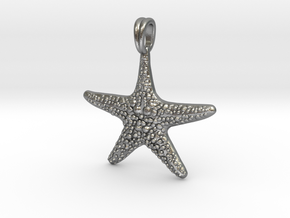 Starfish Symbol 3D Sculpted Jewelry Pendant in Natural Silver