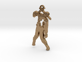 Spike The Zombie Pendant in Natural Brass