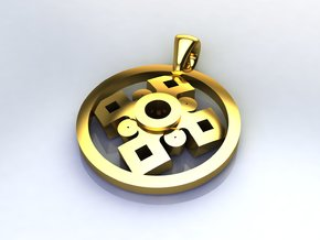 Pendant, Forces of Nature  in 14k Gold Plated Brass