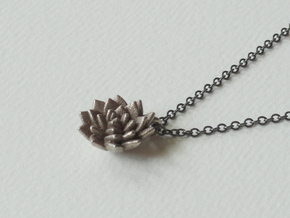 Spikey Succulent Pendant in Polished Bronzed Silver Steel