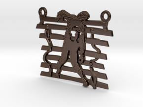 Zombie On A Fence Pendant  in Polished Bronze Steel