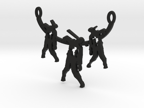 Zombie Trio Pendant in Black Natural Versatile Plastic