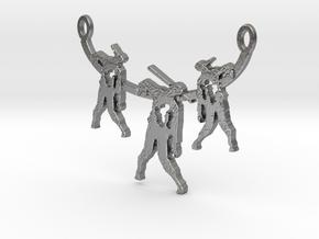 Zombie Trio Pendant in Natural Silver
