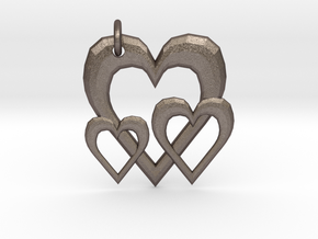 Linking Hearts Pendant in Polished Bronzed Silver Steel