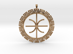 Delphic Apollo E Ancient Greek Jewelry Symbol 3D  in Polished Brass